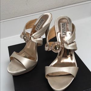 Badgley Mischka jeweled ivory satin heels